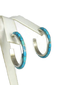Turquoise Inlay Hoop Earrings by Susanna Kallestewa