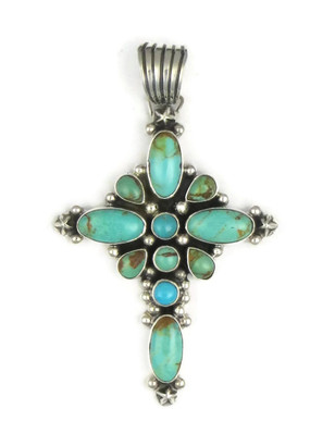 Kingman Turquoise Cross Pendant by Geneva Apachito