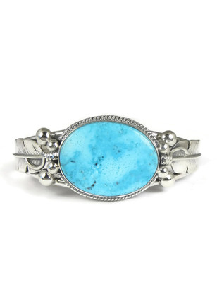 Kingman Turquoise Silver Feather Bracelet by John Nelson