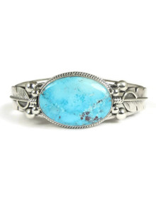 Kingman Turquoise Silver Feather Bracelet by John Nelson (BR5660)