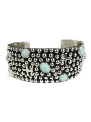 Dry Creek Turquoise Silver Cross Bracelet by Ronnie Willie