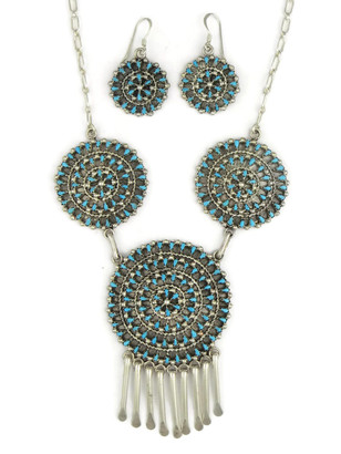 Turquoise Petit Point Cluster Necklace Set by Tricia Leekity