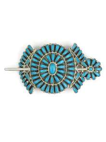 Turquoise Petit Point Cluster Hair Clasp by Zeita Begay