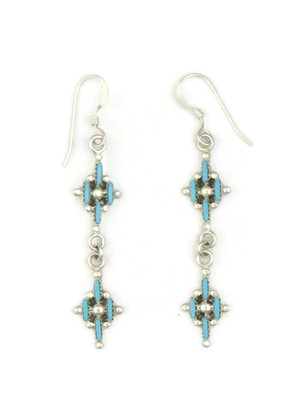 Dainty Turquoise Needle Point Dangle Earrings by Shirleen Panteah
