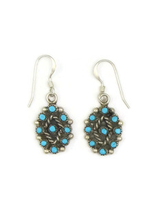 Turquoise Snake Eye Dangle Earrings by Zuni Farrel Wytewa