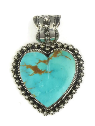 Large Kingman Turquoise Heart Pendant by Happy Piaso