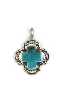 Kingman Turquoise Cross Pendant by Elgin Tom (PD4933)