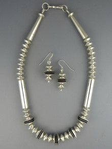 "Silver & Channel Bead Necklace Set  17 1/2"" by Mike Thompson"