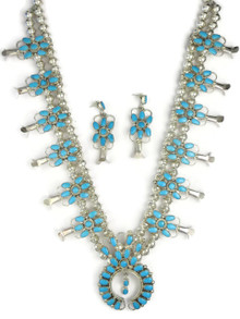 Turquoise Petit Point Squash Blossom Necklace Set by Claudine Penketewa