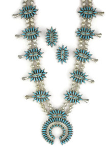 Turquoise Needle Point Cluster Squash Blossom Necklace Set - Zuni