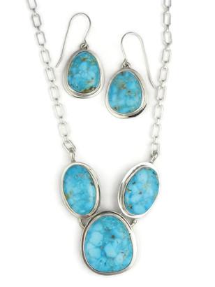 Kingman Turquoise Necklace Set by Lyle Piaso