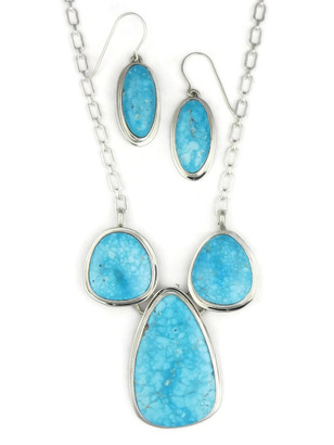 Kingman Turquoise Necklace Set by Lyle Piaso (NK3381)