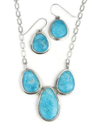 Kingman Turquoise Necklace Set by Lyle Piaso (NK3382)