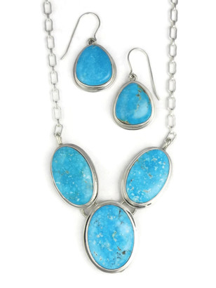 Kingman Turquoise Necklace Set by Lyle Piaso (NK3383)