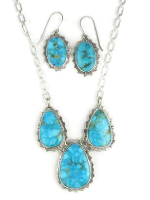 Kingman Turquoise Necklace Set by Lyle Piaso (NK3384)