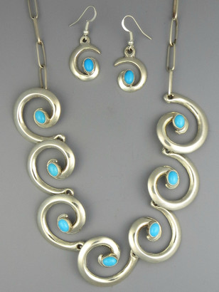 Sterling Silver Turquoise Swirl Necklace Set by Mildred Parkhurst