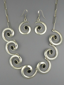 Sterling Silver Onyx Swirl Necklace Set by Mildred Parkhurst