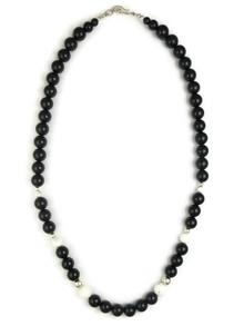 """Onyx & White Buffalo Bead Necklace 18"""""""