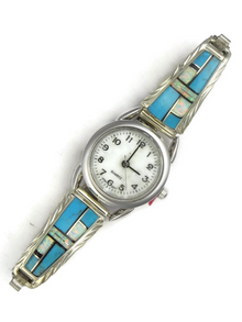 Turquoise, Jet & Opal Inlay Watch