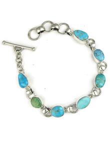 Kingman Turquoise Link Bracelet by Lyle Piaso (BR5674)