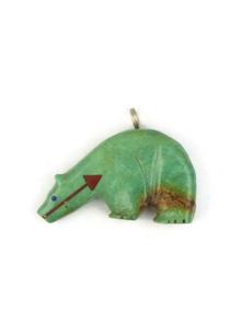 Turquoise Heart-Line Fetish Bear Pendant by Georgia Quandelacy