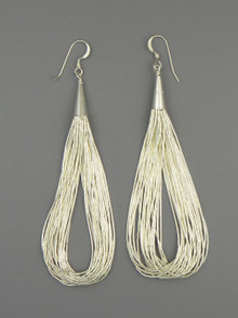 20 Strand Liquid Silver Earrings 3""