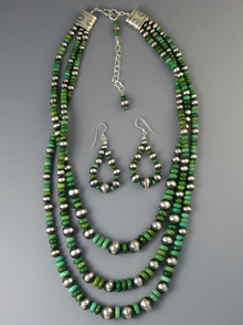 Three Strand Graduated Green Alunite Bead Necklace Set