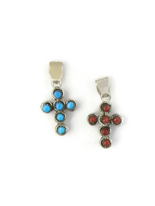Reversible Turquoise & Coral Cross Pendant by Zuni, Verdi Booqua