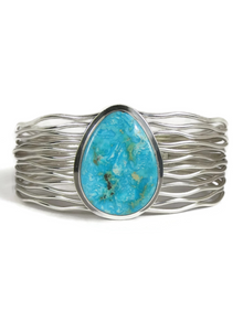 Turquoise Mountain Branch Wire Bracelet by Murphy Platero