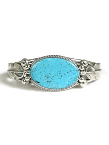 Kingman Turquoise Silver Feather Bracelet by John Nelson (BR5685)