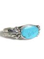 Kingman Turquoise Silver Feather Bracelet by John Nelson (BR5685)