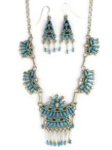 Turquoise Needle Point Necklace Set by Keith Leekity