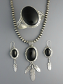Black Onyx Feather Necklace Set by John Nelson