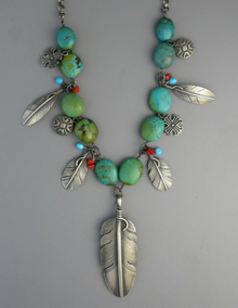 Turquoise Silver Feather Necklace