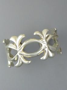 Silver Sandcast Bracelet by Ray Adakai