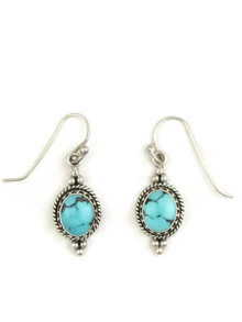 Turquoise Gallery Wire Earrings by Tommy Thompson