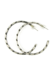 Silver Twist Hoop Earrings by Elaine Tahe