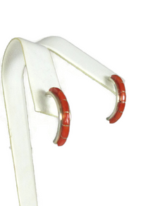 Mediterranean Coral Inlay Hoop Earrings by Susanna Kallestewa
