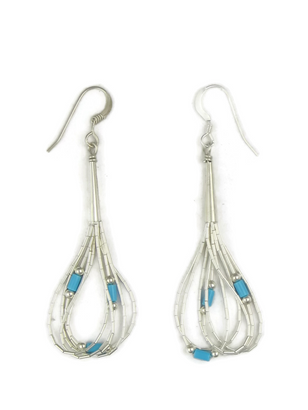 "5 Strand Liquid Silver Turquoise Heishi Earrings 1 1/2"""