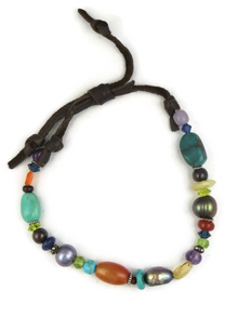 Turquoise & Gemstone Beaded Leather Bracelet