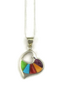 Multi Gemstone Inlay Heart Pendant (PD4943)