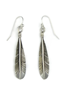 Silver Feather Earrings by Joe Piaso