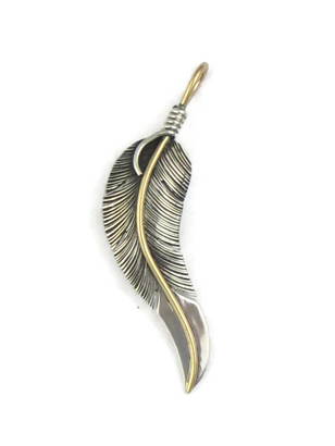 12k Gold & Sterling Silver Feather Pendant by Lena Platero (PD4949)