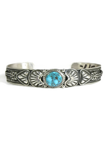 Kingman Bird's Eye Turquoise Bracelet with Arrows by Tsosie White