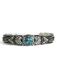 Blue Diamond Turquoise Bracelet with Arrows by Tsosie White