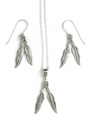 Double Silver Feather Earring & Pendant Set
