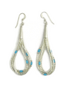 5 Strand Liquid Silver Turquoise Heishi Earrings 2 1/2""