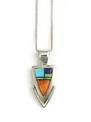 Multi Gemstone Inlay Arrowhead Pendant by Ervin Hoskie