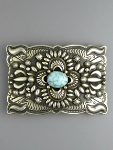 Natural Dry Creek Turquoise Belt Buckle by Darryl Becenti