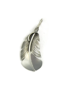 Sterling Silver Feather Pendant by Raymond Coriz